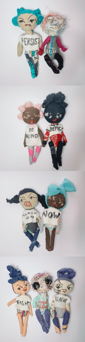 mighty girls ordinary heroes wear activist slogan tee, fabric doll stitched stitched from upcycled fabric