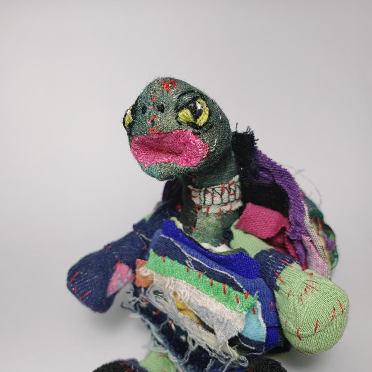 portrait of textile art doll terrapine