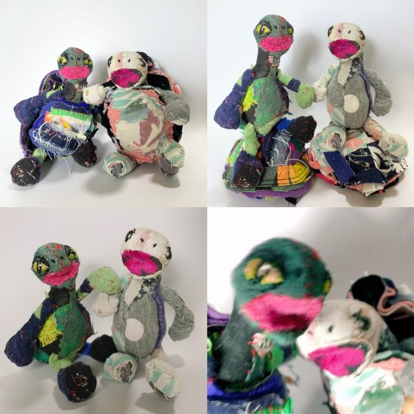 2 friends victoria & Gabe fabric tortoise soft sculpture selfie