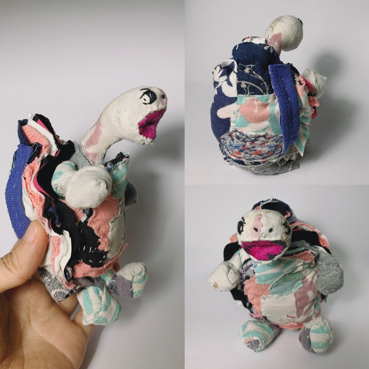 textile art doll tortoise screaming and happy