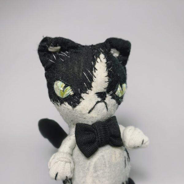 cow cat textile art doll