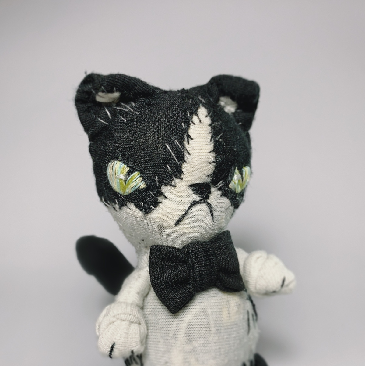 cow cat textile art doll