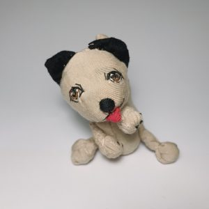 Brown mongrel puppy dog soft sculpture doll from recycled materials, happy tongue out