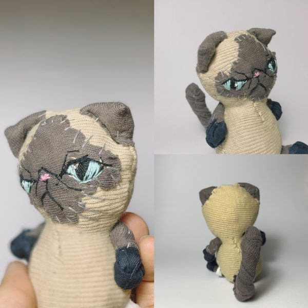 chubby exotic short hair seal point cat soft sculpture made of recycled textile