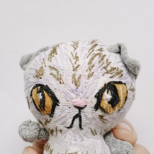 Scottish fold cat textile art doll
