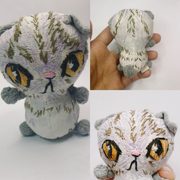 collage of roly Scottish fold cat textile art doll