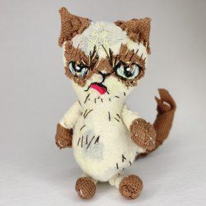 cream seal point cat textile art doll