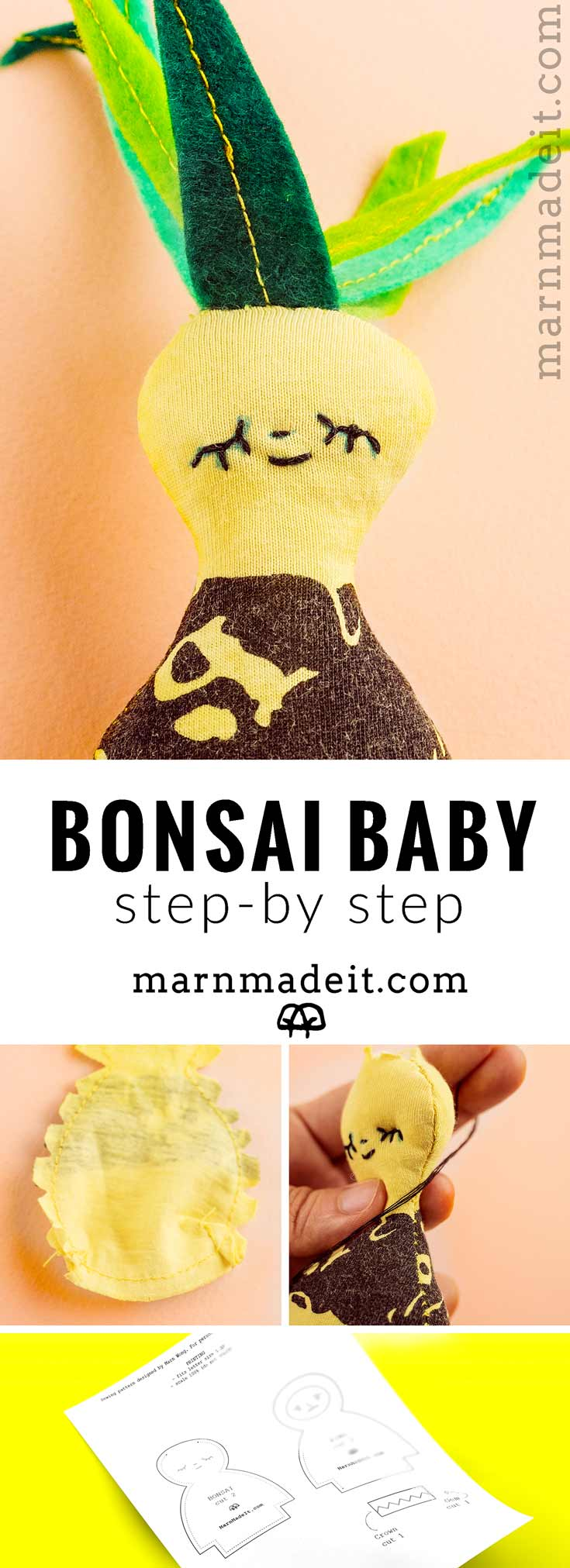 Who doesn't like plants & babies? This little bonsai baby plush is def gonna make any room brighter with its hand-stitched smile. Handmade from recycled tee, it is an upcycled project, kind to its own kind. Save this tutorial and free printable sewing pattern for download later. // Marn Made It